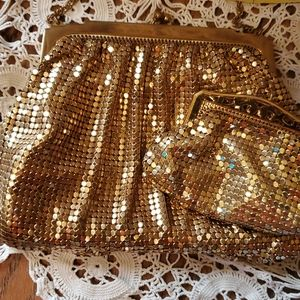 Whiting And Davis Co  gold evening bag and coin pu